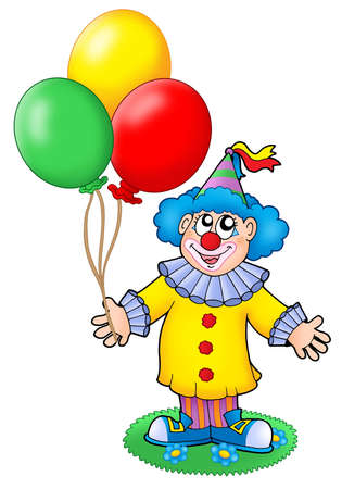Cute clown with balloons - color illustration. illustration