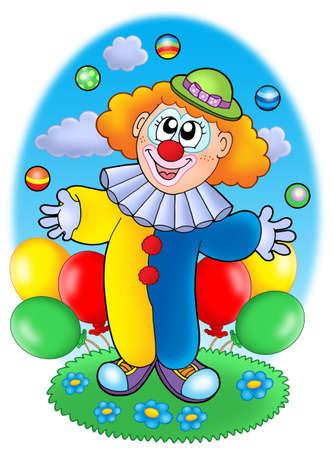 flower show: Juggling cartoon clown with balloons - color illustration.