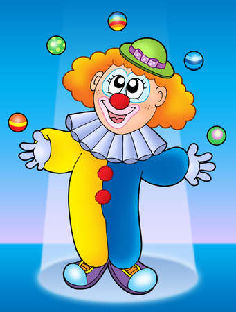 Juggling clown on blue background - color illustration. illustration