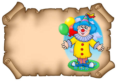 cartoon clown: Party invitation with clown - color illustration.