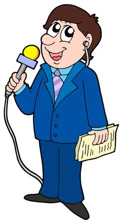 reporters: TV reporter with microphone - vector illustration.