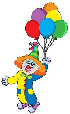 Flying clown with balloons - vector illustration.