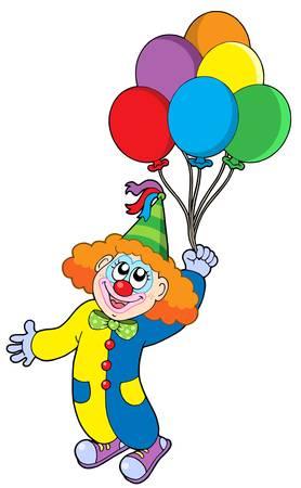 showman: Flying payaso con globos - ilustraci�n vectorial.