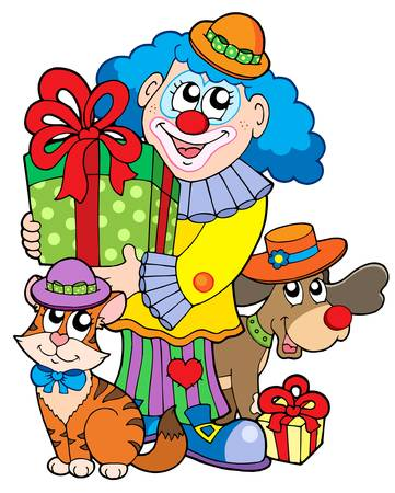 Party clown with cute animals - vector illustration. Vector