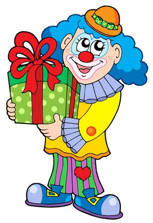 Party clown with gift - vector illustration.