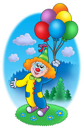 Party clown with balloons - color illustration. Stock Photo