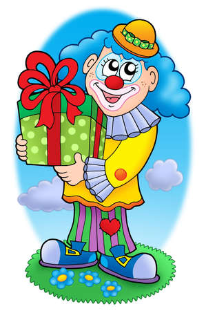 Smiling clown with gift - color illustration. illustration