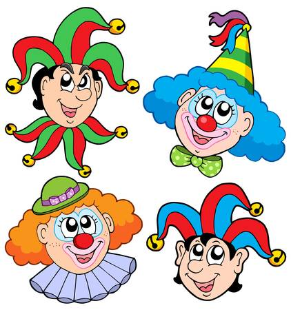Clowns head collection 2 - vector illustration. Vector