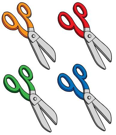 snip: Various colors scissors - vector illustration.