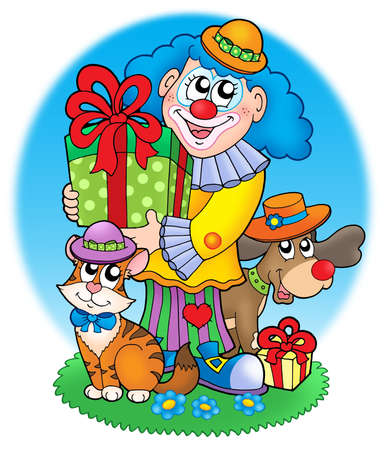 Circus clown with pets - color illustration. illustration