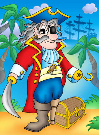 Noble pirate with treasure chest - color illustration. illustration