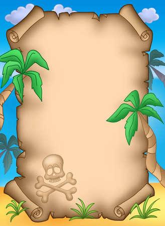 Pirate parchemin avec palmes - couleur illustration.