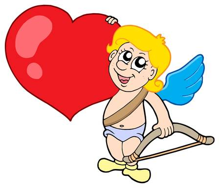 Cute cupid with bow and heart - vector illustration.