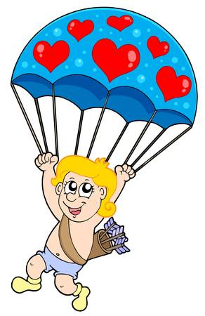 Parachute cupid - vector illustration. Vector
