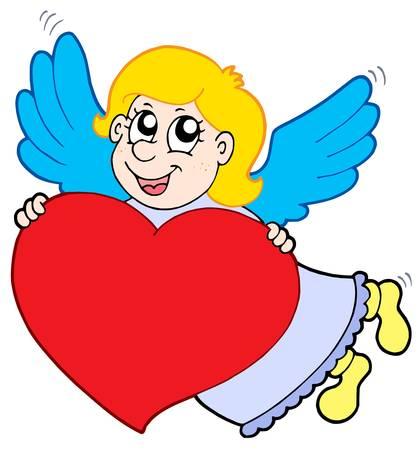 guardian angel: Cupido sonriente con coraz�n - ilustraci�n vectorial.