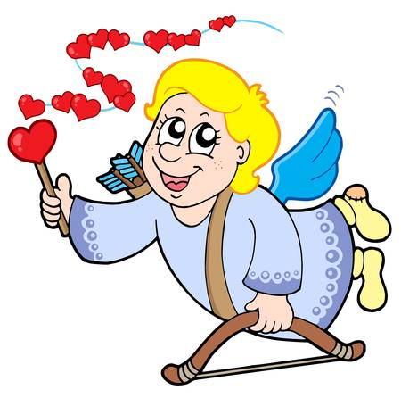 Flying cupid with magic wand - vector illustration. Vector