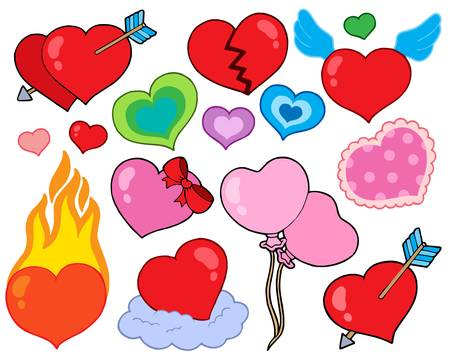 fire damage: Valentine hearts collection 1 - vector illustration.
