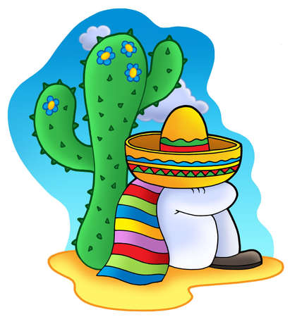 mexican hat: Sleeping Mexican - color illustration.