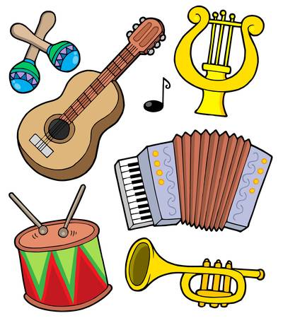 music instruments: Music instruments collection 1 - vector illustration.