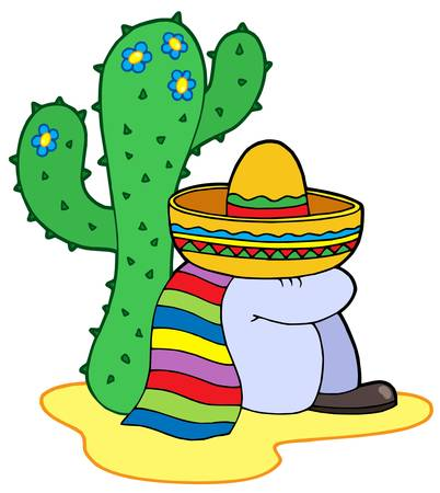 mexican hat: Resting mexican - vector illustration.