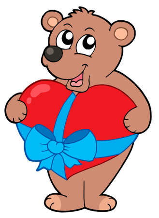 amor: Valentine bear with heart - vector illustration.
