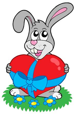 illustratin: Valentine rabbit with heart - vector illustratin.
