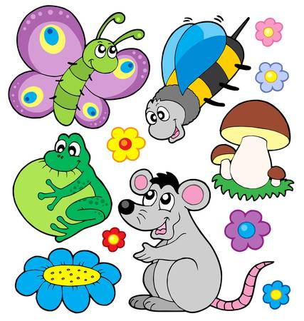 rana caricatura: Recogida de animales peque�os 3 - ilustraci�n vectorial. Vectores