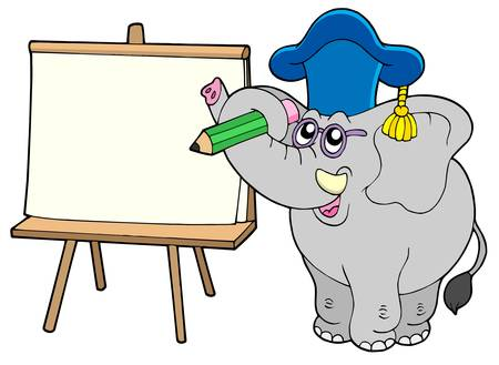 graduacion caricatura: Escrito con el profesor elefante comprimido - ilustraci�n vectorial.