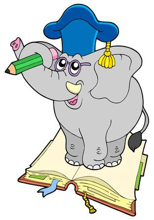 Elephant teacher standing on book - vector illustration. Vector