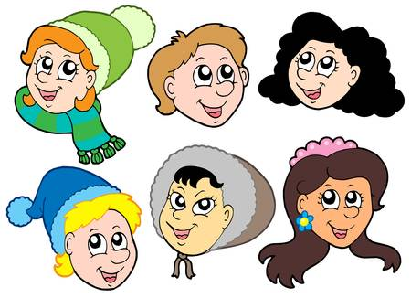 Children faces collection 2 - vector illustration Vector