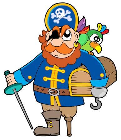 Pirate holding treasure chest - vector illustration. Vector