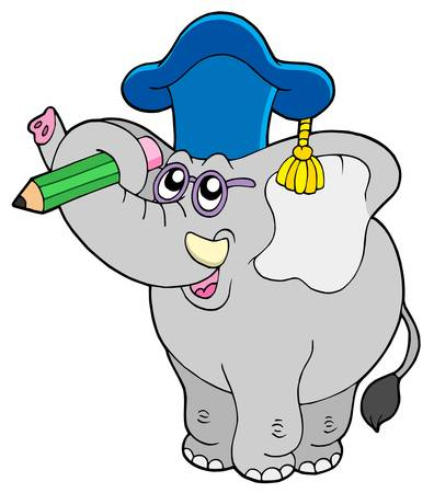 Writing elephant teacher - vector illustration. Vector