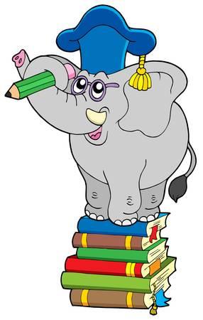 elefante animado: Maestro en la escritura de elefante libro - ilustraci�n vectorial.