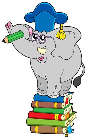Writing elephant teacher on book - vector illustration. Vector