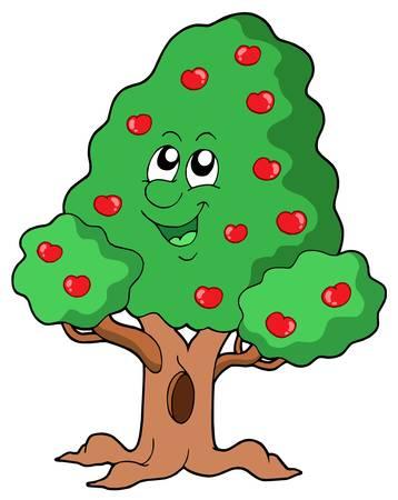 apple tree: Cute apple tree - vector illustration.