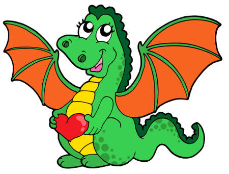 green dragon: Cute dragon girl with heart - vector illustration.