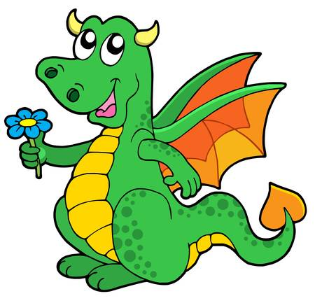 Cute dragon with flower - vector illustration.