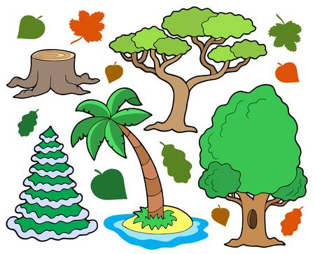stool: Various trees collection 1 - vector illustration.
