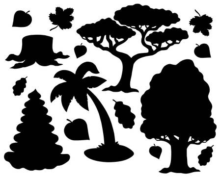 Various trees silhouette collection - vector illustration. Vector
