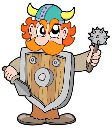 Angry viking warrior - vector illustration. Stock Vector - 4150934