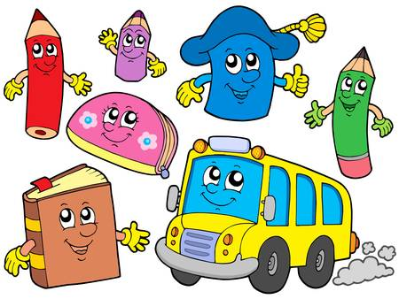 primary colours: Cute school illustrations collection - vector illustration.