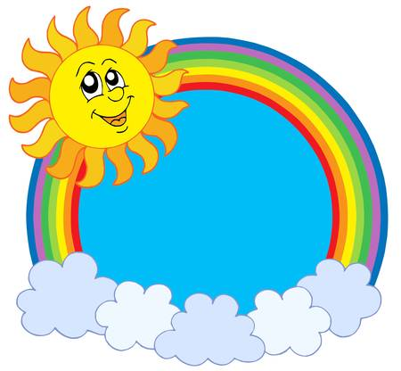 Cute sun and rainbow - vector illustration.
