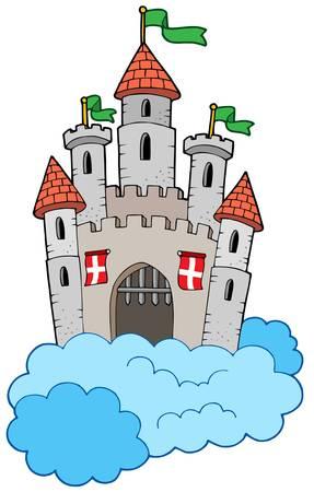 bollwerk: Mittelalterliche Burg auf Wolken - Vektor-Illustration.