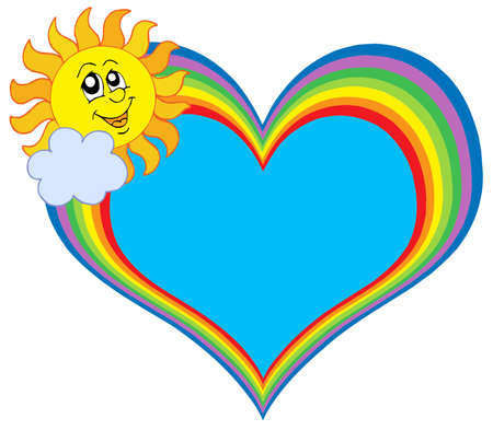 Rainbow heart with sun - vector illustration
