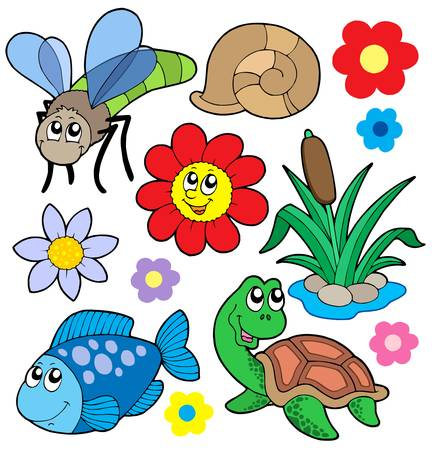 water weed: Small animals collection 5 - vector illustration.
