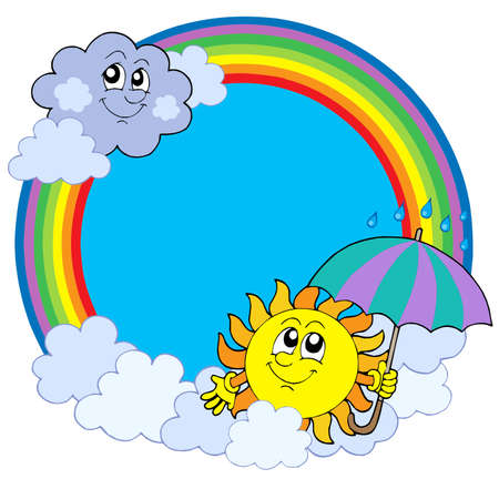 rain cartoon: Sun and clouds in rainbow circle - vector illustration.