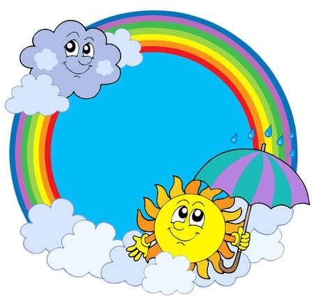 Sun en wolken in de Regenboog cirkel - vector afbeelding.
