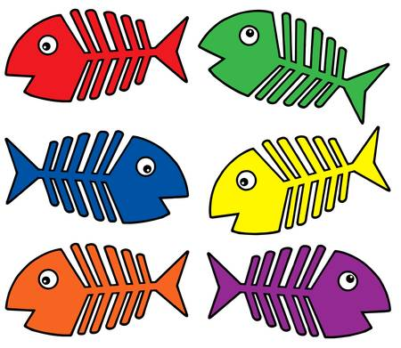 outline drawing of fish: Various colors fishbones - vector illustration. Illustration