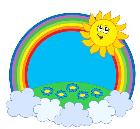 rainbow clouds: Sun and meadow in rainbow - vector illustration.