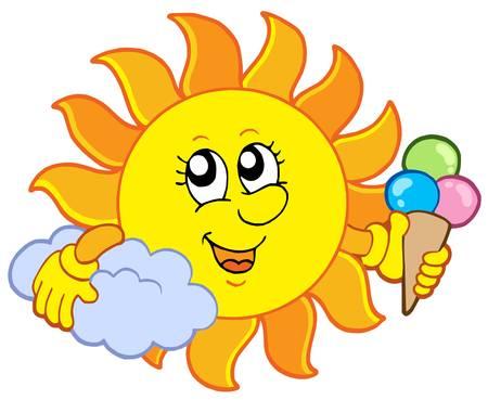 Sol con helado - ilustración vectorial.